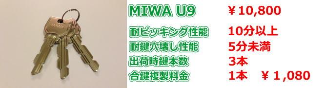 ミワ U9シリンダーの画像